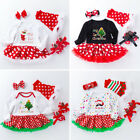 My First Christmas Santa Baby Girl Set Romper Fancy Tutu Dress Outfit Clothes