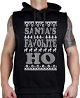 Men's Santa's Favorite HO Black Sleeveless Vest Hoodie Ugly Sweater Christmas