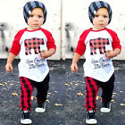 US Christmas Outfits Toddler Kids Baby Boys Girls Tops T-shirt Pants Clothes Set