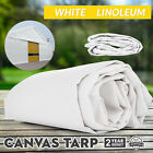 Multi-size Canvas Tarp White Linoleum Tarpaulin Water Resistant Campgrounds