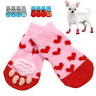 Внешний вид - 4pcs Paw Socks for Dogs Non Slip Knitted Christmas Feet Socks Pet Cat Shoes S-L
