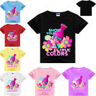 Girls Kids Trolls Cartoon Short Sleeve T-shirt Tops Casual Summer Tee Clothing image
