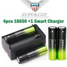 12X 3.7V 18650 Li-ion Rechargeable Battery+Charger For Flashlight Headlamp Torch