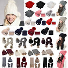 2pcs Scarf Hat Set Women Winter Warm Plain Pompoms Knitted Soft Caps And Scarves