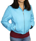 "Women's Soft Blue Genuine Leather Short 17.5 "" Zipper Closure Fitted Jacket"