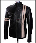 Men's Driver Black / Beige Stripes Lambskin Leather Movie Film Fashion Jacket