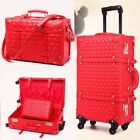 14 22 24 Bride Make Up Bag Red Vintage Style Trolley Locking Cosmetic Travel Bag