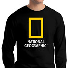 National Geographic Logo Long Sleeve Shirt Unisex Black Planet Animals Nature