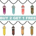 NEW 7 CHAKRAS Natural Stone Rose Quartz Crystal Gemstone Pendant Chain Necklace image