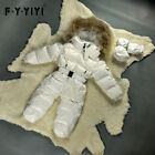 Toddler Baby Boy Winter Duck Down Jacket Ski Snowsuit Fur Collar Romper Jumpsuit