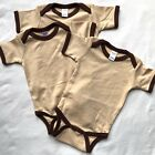 6 New 0-3 Month Monag Baby Bodysuits Lot Blue Tan You Choose Color Bundle