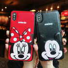For Iphone 11 Xr Xs 8 7 Mickey Mouse Minnie Leather Case Card Slot Holder Cover