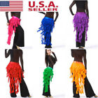 USA Women Lady Chiffon Belly India Dance Hip Scarf 3 Rows Coin Jingle Belt Dress