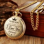Golden/Black/Silver To My Son Quartz Pocket Watch Necklace Chain Boy Xmas Gift