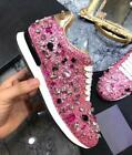 Women's Genuine Leather Rhinestone Lace Up Trainers Bling Sneakers Shoes 2019