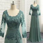 Green Half Sleeve Appliques Mother Of The Bride Dresses Chiffon Prom Party Dress
