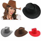 Mens Womens Wild West Fancy Cowgirl Cowboy Old West Hat Western Headwear Ca S4R8
