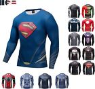 Superman Long Sleeve T-shirt Men's Compression Gym Fitness Sport 3D Tops Clothes image