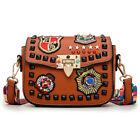 Fashion Color Rivet Design Women Pu Leather Bags Embroidery Metal Stars