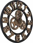 16 Round Wall Clock, Antique Handmade Wooden Vintage 3D Gear Design, By...