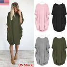 US Women's Long Sleeve Pocket T-Shirt Dress Tops Loose Casual Party Dress Tops