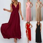 Elegant Women Sexy Sleeveless Solid Maxi Casual Holiday Beach Party Long Dress