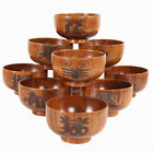 Solid Wooden Bowl Round Food Serving Wood Tableware for Rice, Soup