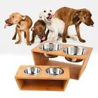 2 Sizes Raised Feeder Double Stainless Steel Bowl Pet Dog Food Water Stand 01