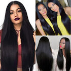 Hot Long Straight Black Synthetic Wig Heat Resistant Straight Hair Women