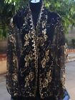 Sheer Sequin Shawl Scarf Embroidery Long fringe 22 x 64 inc
