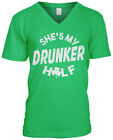 Shes My Drunker Half St Patricks Day Funny Couple Costume Joke Humor Mens V-neck