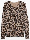 NEW NWT Womens GAP Cardigan Sweater Crewneck Buttondown Cheetah Print 44 E4