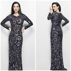 NWT PRIMAVERA COUTURE LONG SLEEVE EMBLISHED SEQUINED GOWN IN BLUE GOLD ALL SIZES