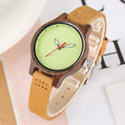 Simple Small Watch Women's Quartz Wrist Watches Wooden Round Dial Leather Band image
