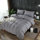 Dark Gray Washed Microfiber Set:1 Duvet Cover 2 Pillow Shams Queen/King/Cal K  image