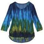 Parsley & Sage Women's Northern Lights Tie-Dye Tunic Top - 3/4 Sleeve Scoop Neck