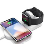 Qi Wireless Charger 10W Fast Charging Dock Mat Station 2in1 For iWatch iPhone X
