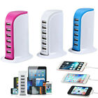 Universal 6 Port USB Charger Smart Cell Phone Charging Station Dock Wall Charger