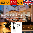 11-20m Black Durable Festoon String Lights Patio Pergola Deck Waterproof Deco UK