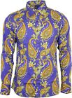 Run & Fly Mens Purple Haze Psychedelic Paisley Print Long Sleeved Shirt