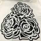 Chiffon Fabric With Crepe Effect - Large Triple Rose: Ivory and Black 160cm 63