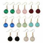 Jewelry Druzy Stone Hook Drop Earring Round Circle Natural Quartz Geode Crystal