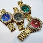 Luxury Hip Hop Iced Lab Diamond Mother of Pearl Dial Metal Wrist Bling Watch image