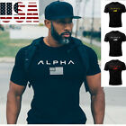 ALPHA Gym Men T-Shirt Muscle Fitness Cotton Fit Tee Workout Top Athletic Clothes image