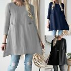 Women Linen Boho Round Neckline Solid Long Sleeve Shirt Casual Loose Blouse Tops