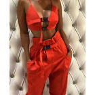Spring Sexy Crop Top Bra Tank Straight Pants Sets For Women Casual 2 Piece Suit