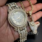 Hip Hop Iced Lab Diamond Gold plated Watch & I love you Hand Sign Bling Necklace image