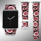 Cincinnati Reds Apple Watch Band 38 40 42 44 mm Fabric Leather Strap 02 on Ebay