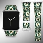 Oakland Athletics Apple Watch Band 38 40 42 44 mm Fabric Leather Strap 02 on Ebay
