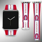 Montreal Canadiens Apple Watch Band 38 40 42 44 mm Fabric Leather Strap 02 $29.97 USD on eBay